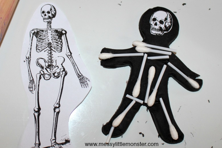 playdough skeletons - a easy sensory human skeleton activity for kids