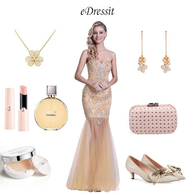 Strapless Sweetheart Beaded Beige Prom Dress