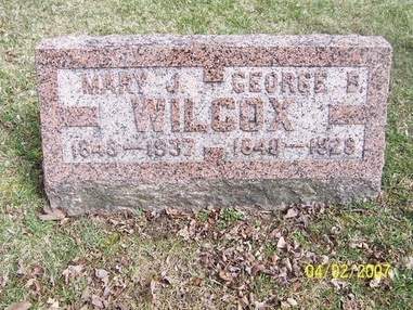 Climbing My Family Tree: Mary J & George B. Wilcox gravestone in the Burnside Township Cemetery, Lapeer County, Michigan