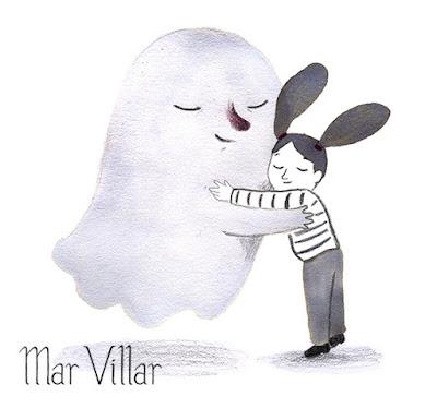 Dibujo de fantasma, ilustración de fantasma, diseño de personajes, tinta, Mar Villar, fantasma abrazo