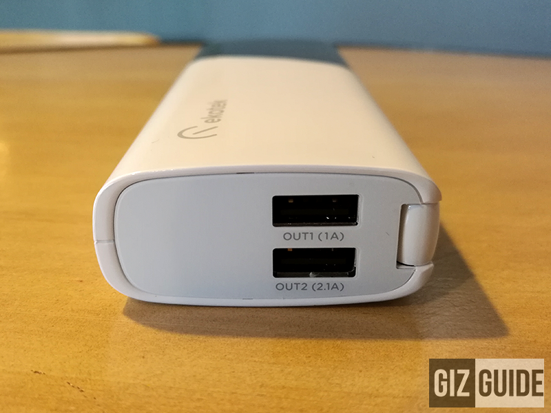 View on top, featuring a dual charging port