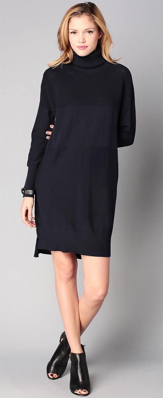 Robe pull col roulé Ikks women bleu marine