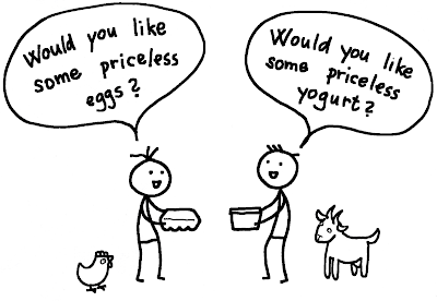 Two happy persons bartering priceless goat yogurt for priceless free range eggs.