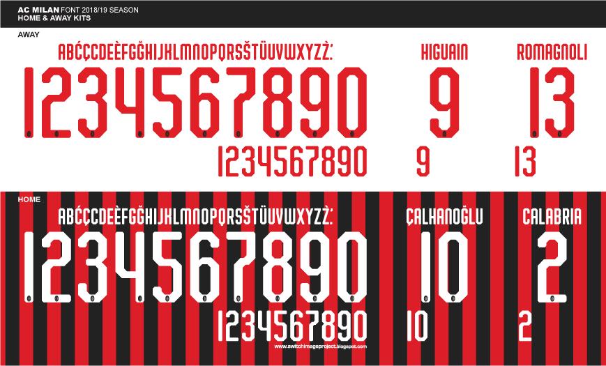 Football teams shirt and kits fan: Font AC Milan 2018/19