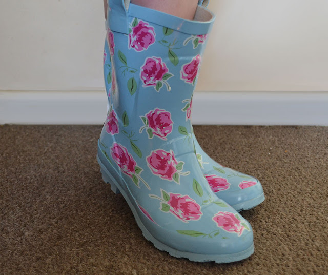 photo of wearing wellies, cute shabby chic rose print short wellington boots