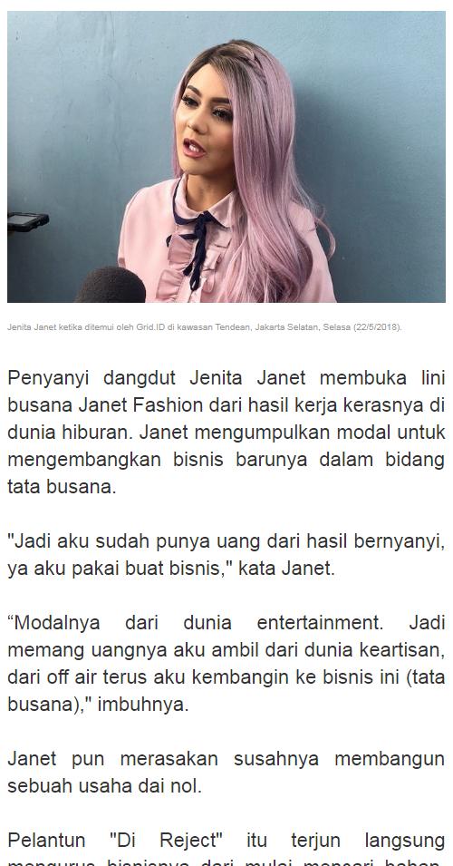 Jenita Janet mengaku telah dua tahun belakangan mengalami kejadian mistis.  Terakhir 4db1b7910b