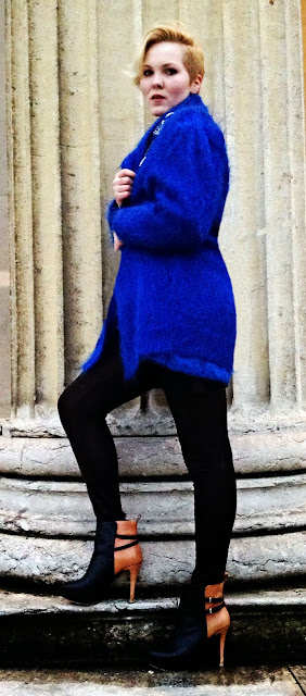 Outfit with Blue Coat and Heels