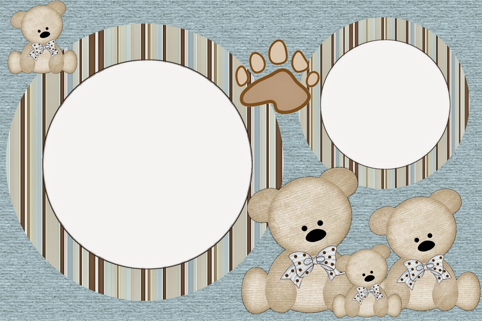 Teddy Bear Family, Free Printable Invitations, Labels or Cards.