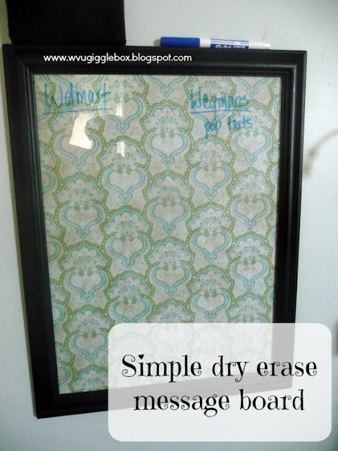 DIY, dry erase message board, dry erase message board out of a photo frame, kitchen command center,
