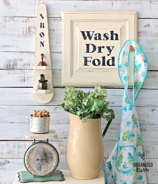 Cabinet Door Laundry Room Decor #stenciling #repurposing