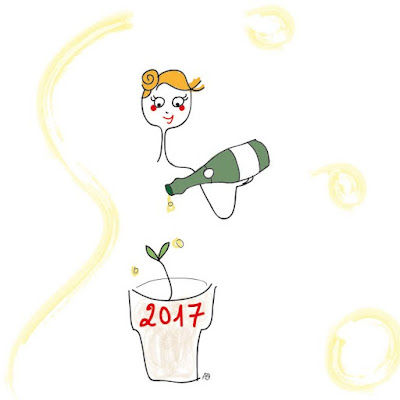 bonne année, 2017, champagne, voeux, souhaits, champagne only, arroser les plantes, agathe, dessin, illustration, illustratrice, bonheur, joie, nouvelle année, nouvel an