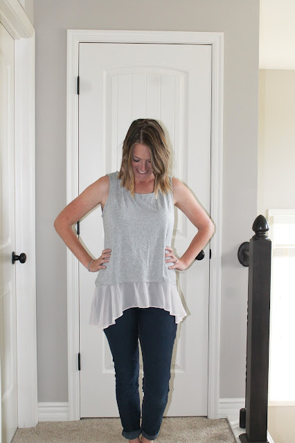 Stitch Fix Abby & Gail Craig Woven Hem Knit Top