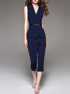 Dark Blue Two Piece Cotton-blend Lapel Sleeveless Jumpsuit