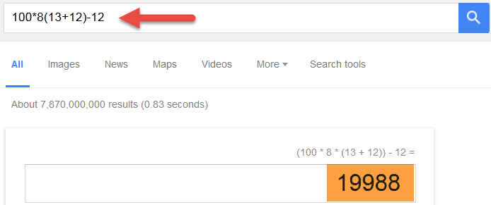 Use google search bar for simple math