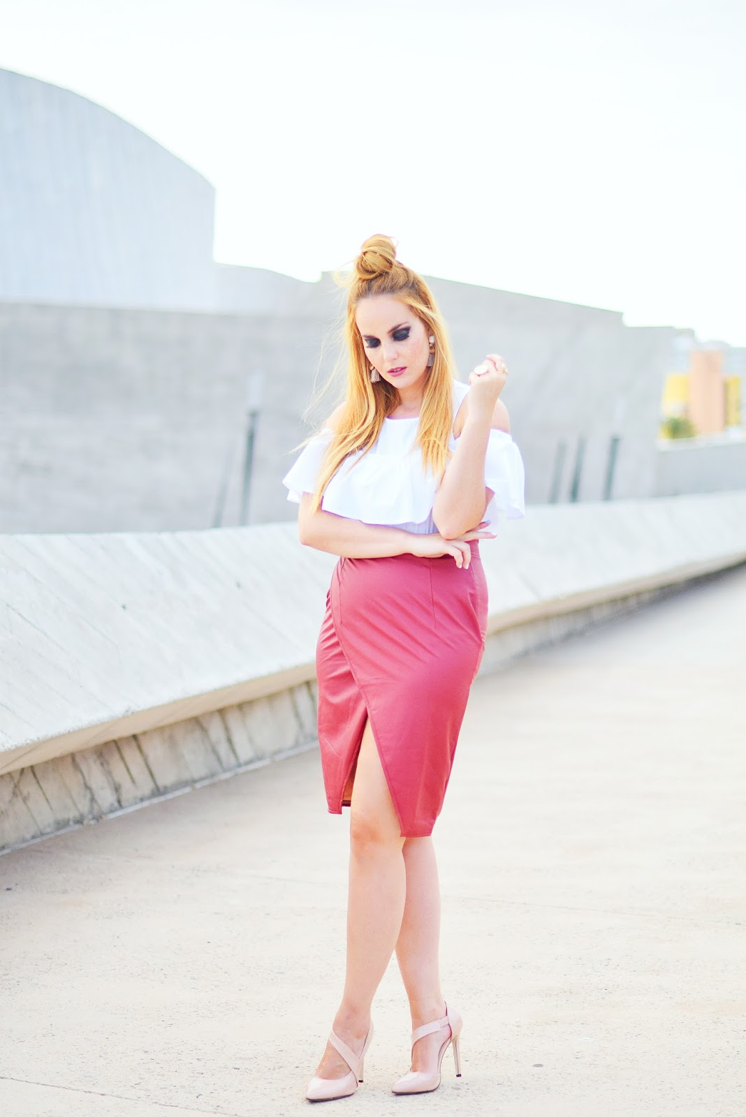 NERY HDEZ, off shoulder, split skirt, top knot, lovelywholesale, tassel earrings