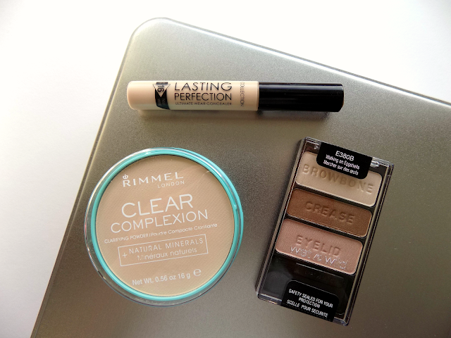 Collection Lasting Perfection concealer, Wet 'n' Wild Walking On Eggshells palette, Rimmel Clear Complexion