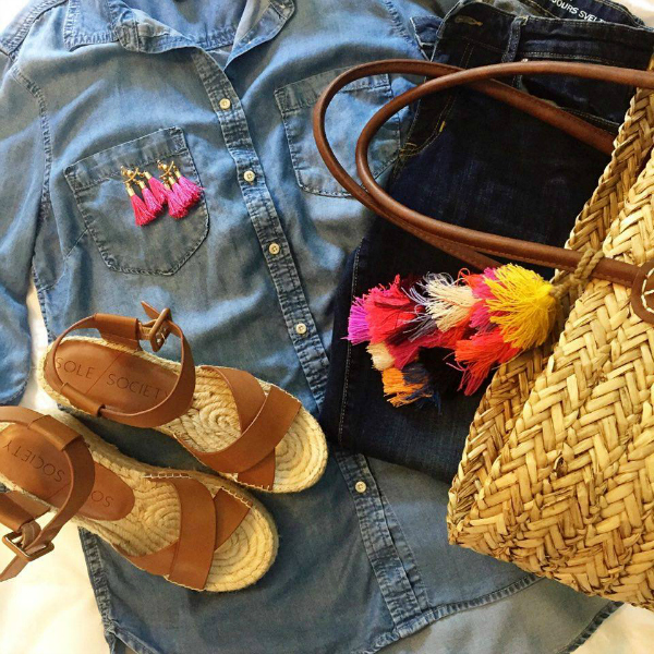 flatform wedges, beach tote, chambray shirt