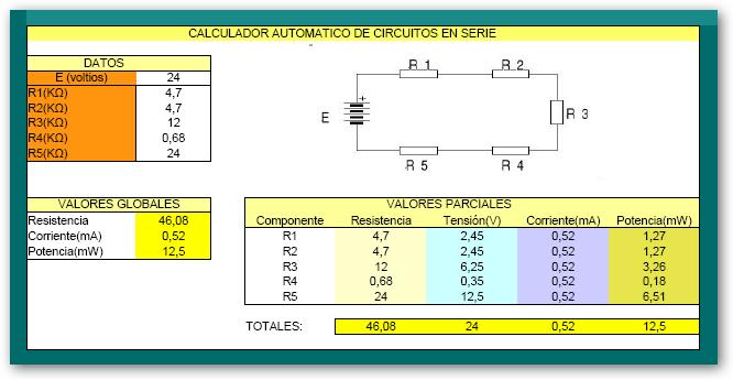 _4º ESO B (Sólo). Proyecto Final. Excel. Calculador de circuitos ...