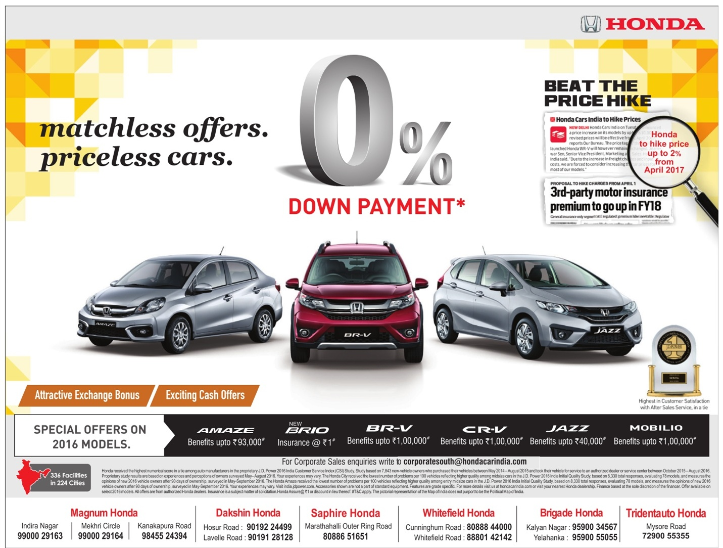 Zero down payment on honda cars and many exciting offers march 2017 ugadi festival offers