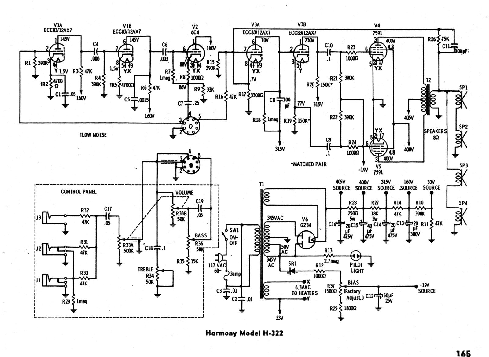 harmony h410 amp schematic