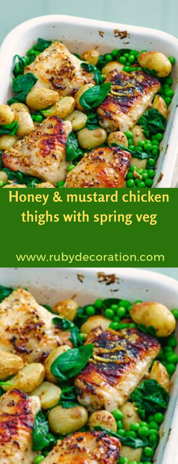 Honey & mustard chicken thighs with spring veg