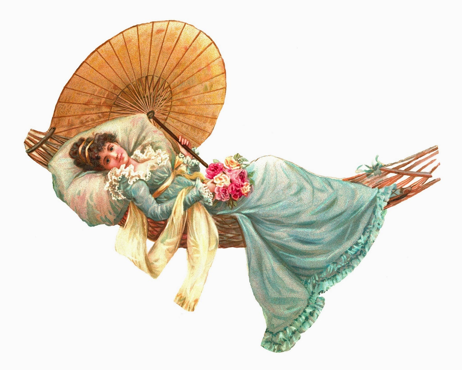 Vintage, color drawing of a regency woman relaxing in a hammock with flowers and a parasol.