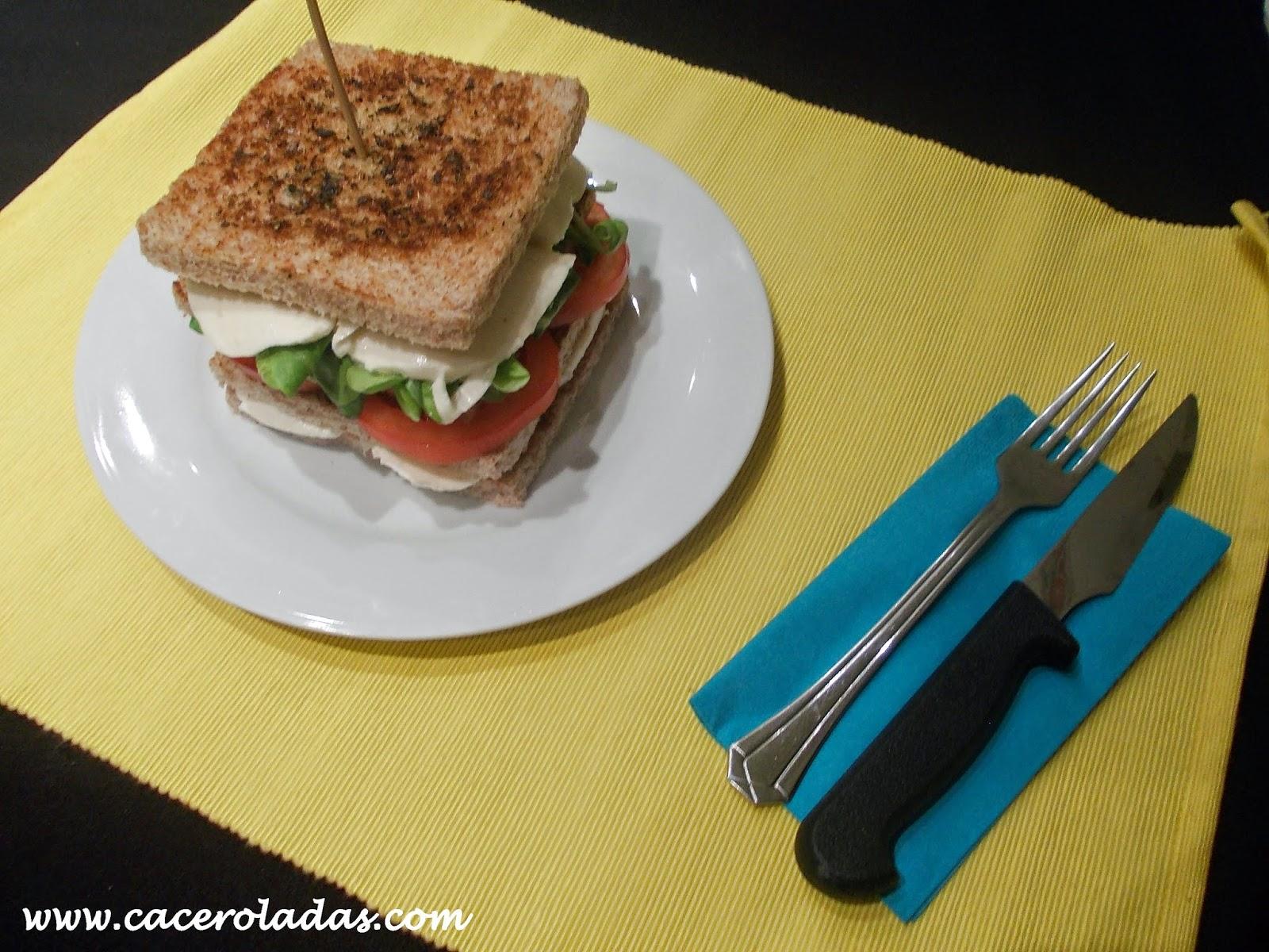 Sándwich vegetal con mozzarella