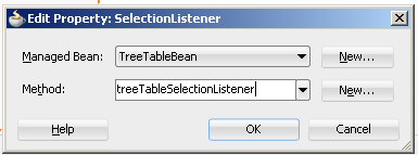 Create custom selection listener in managed bean for af:treeTable