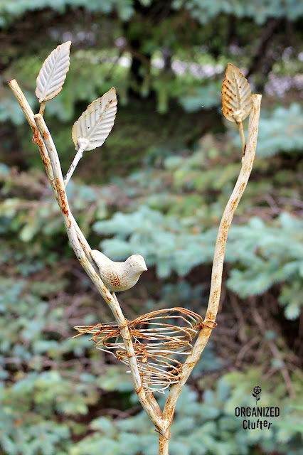Rusty Iron Bird's Nest Garden Stake