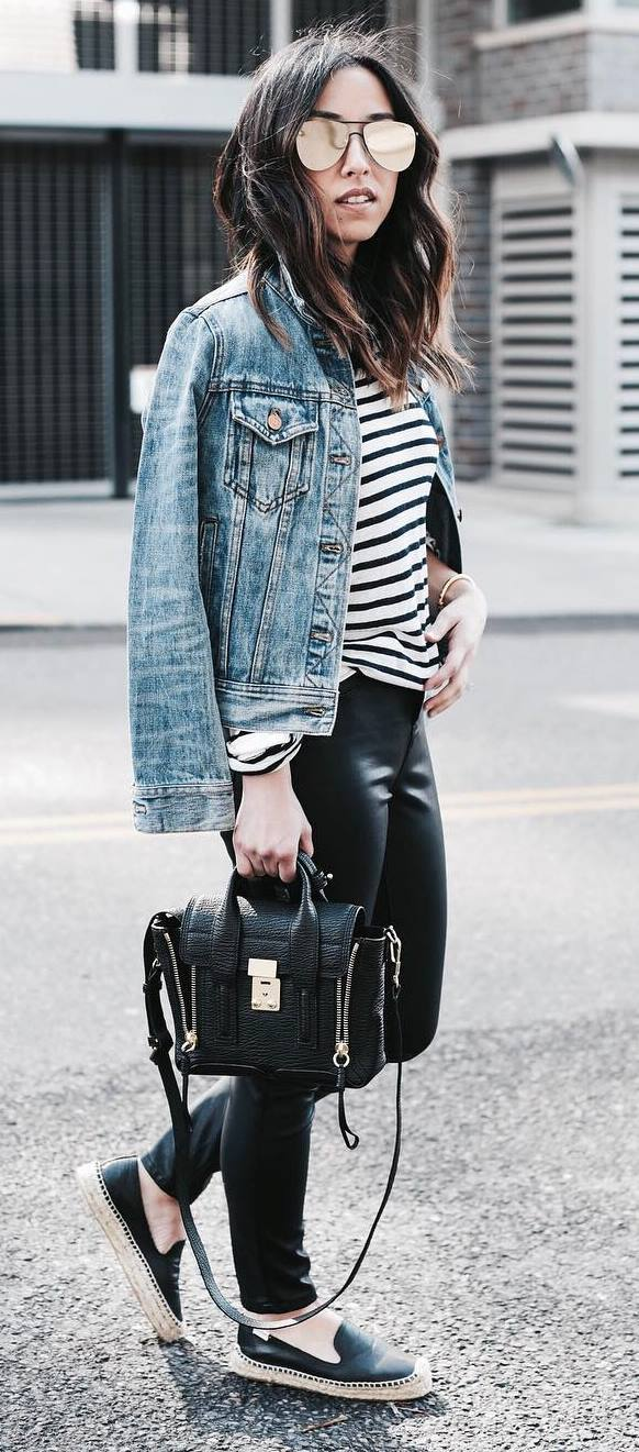 what to wear with a denim jacket : stripped top + bag + skinnies + loafers