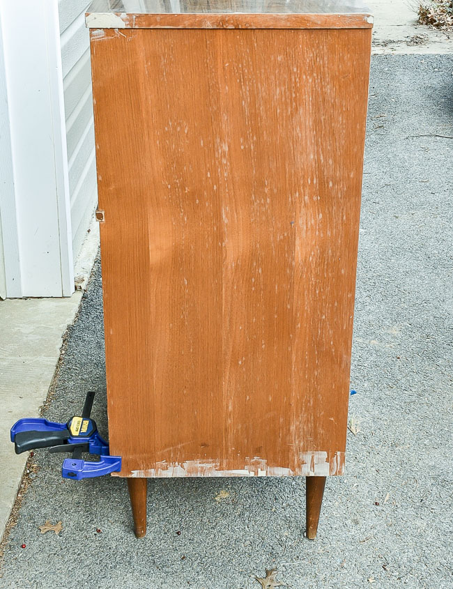 Repairing damage to mcm dresser