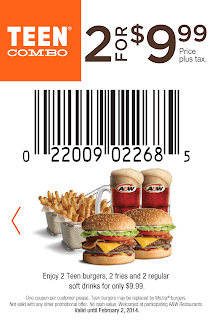 A&W Coupons 2 for $9.99 Teen Combo