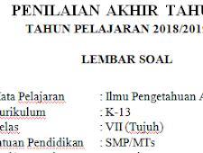 K13 Semester 2 2019 : Soal Pat / Ukk Ipa Kelas 7 Kurikulum 2013 Terbaru