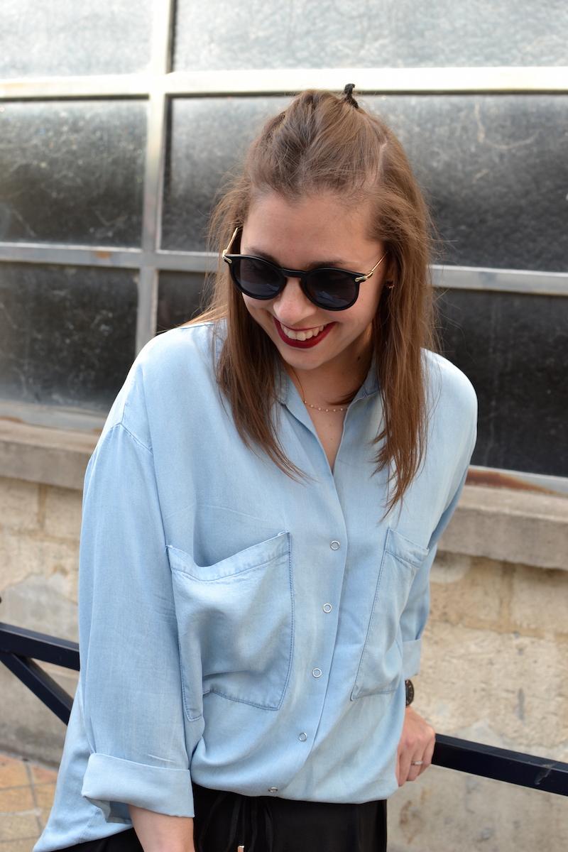 chemise en jean fluide Pimkie, lunette de soleil ronde Asos