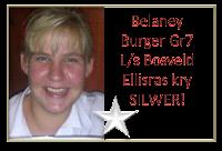 Met haar toespraak onder die ATKV se 2013 tema GELD kry Belaney Burger Gr7 L/s Bosveld Ellisras/Lephalale SILWER!