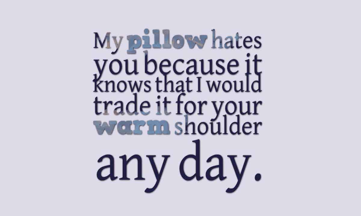 My pillow hates you because it knows that I would trade it for your warm shoulder any day. Good morning.