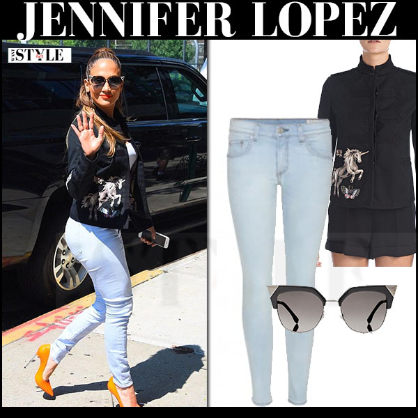 Jennifer Lopez in black animal print valentino jacket and light blue skinny jeans what she wore