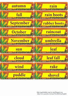 autumn fall vocabulary flashcards