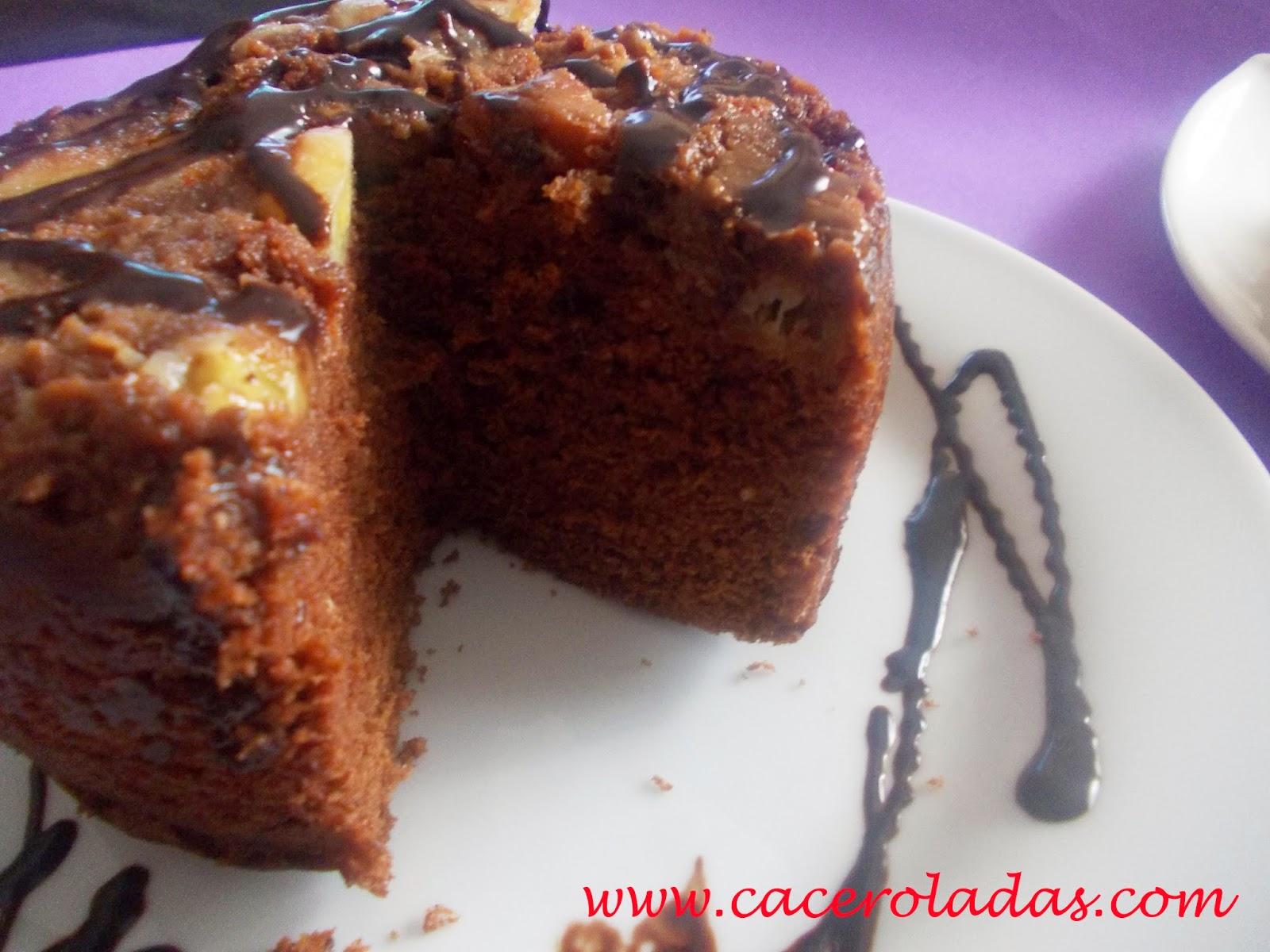 bizcocho de chocolate y plátano en 4 minutos