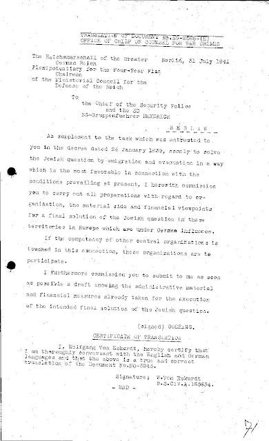 Hermann Goering's Final Solution order to Reinhard Heydrich, 31 July 1941 worldwartwo.filminspector.com