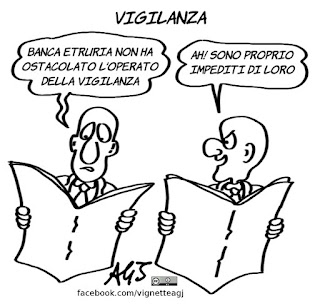 banca etruria, vigilanza, assoluzione, vignetta, satira