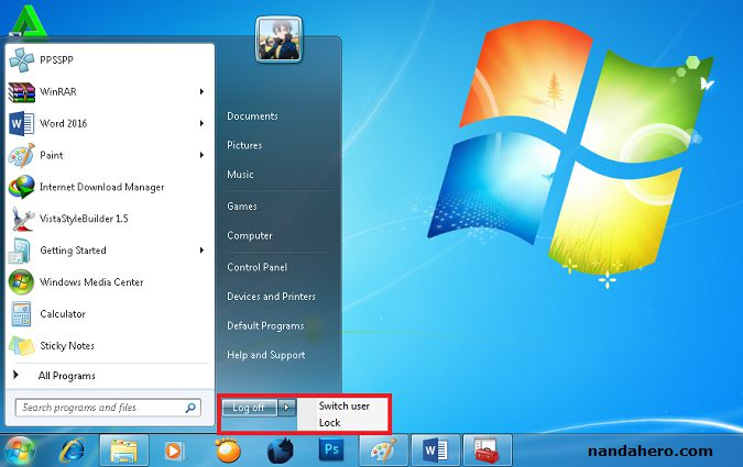 cara menampilkan shutdown di windows 7