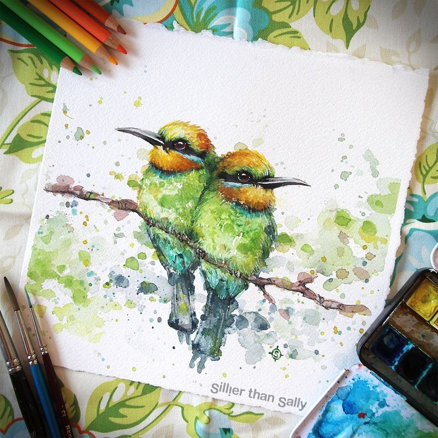 08-Little-Birds-Sally-Walsh-sillierthansally-Watercolour-Portraits-Paintings-of-Wildlife-www-designstack-co