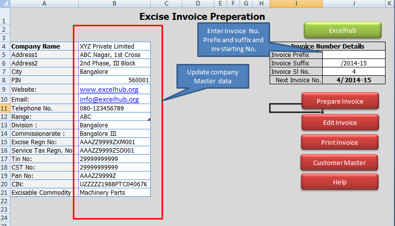 Invoice Preperation Utility In Excel Excelhuborg - Utility invoice template