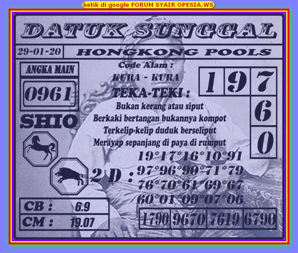 Kode syair Hongkong Rabu 29 Januari 2020 177