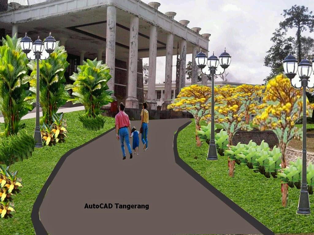 Desain Taman Autocad Sketsa Rumah