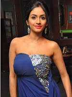 Pooja Sri hot Stills in Blue Dress
