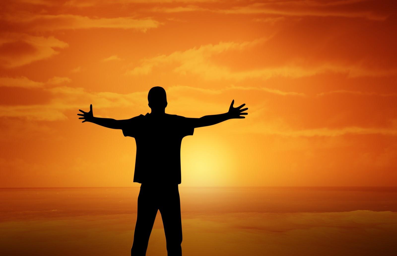 海の彼方の夕陽に向かって一人の男性が両腕を左右に広げて立っている