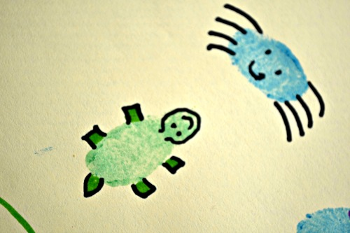 finger painting spider. Finger painting turtle