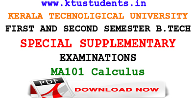 Question Paper for Calculus MA101-Special Supplementary Examination